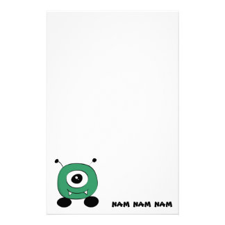 Cute Funny Green Alien Stationery