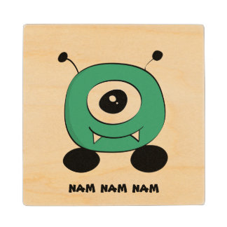 Cute Funny Green Alien Wood Coaster