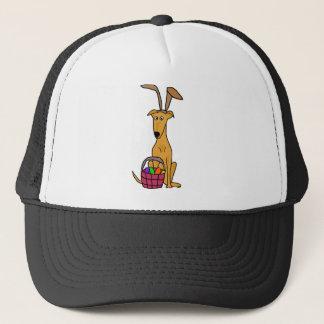 Cute Funny Greyhound Wearing Rabbit Ears Trucker Hat