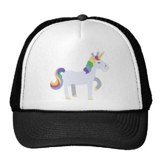 Cute Funny Grinning Unicorn with Rainbow Hair Cap