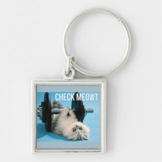 Cute Funny Gym Cat - Check Meowt Silver-Colored Square Key Ring