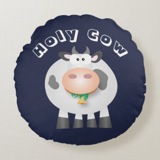 Cute Funny Holy Cow Round Cushion