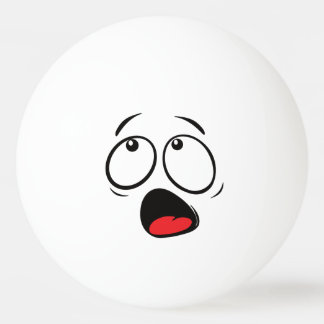 Cute Funny Horrified Smiley. Emoji. Emoticon. Ping Pong Ball