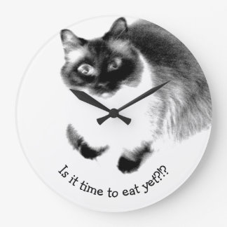 Cute Funny Is It Time To Eat Yet Kitty Large Clock