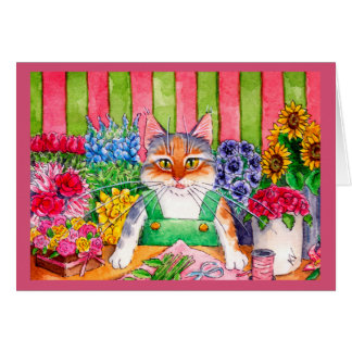 Cute funny kitten cat flower greeting or note card