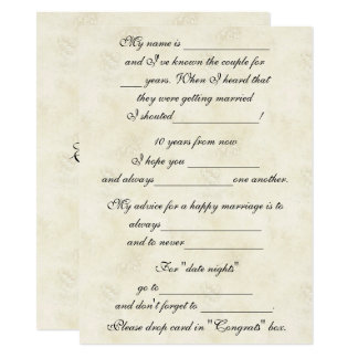 Cute, Funny Marriage Advice for Bride & Groom Card