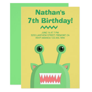 Cute Funny Monster Green Yellow Birthday Party Card