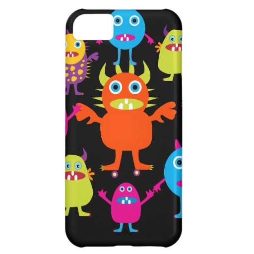Cute Funny Monster Party Creatures in Circle Cover For iPhone 5C