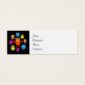 Cute Funny Monster Party Creatures in Circle Mini Business Card