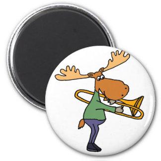 Cute Funny Moose Playing Trombone Art Magnet