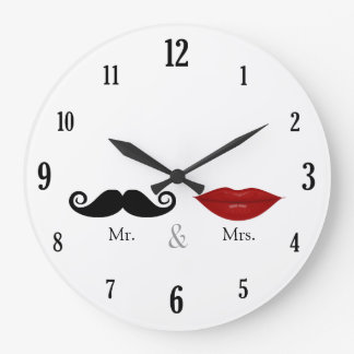 Cute & Funny - Mr. and Mrs. Lips & Mustache Large Clock
