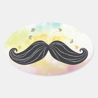 Cute Funny mustache colorful background drawn Oval Sticker
