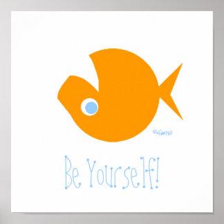 Cute Funny Nonconformist Goldfish Poster