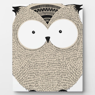 Cute funny owl sketchy illustration display plaque