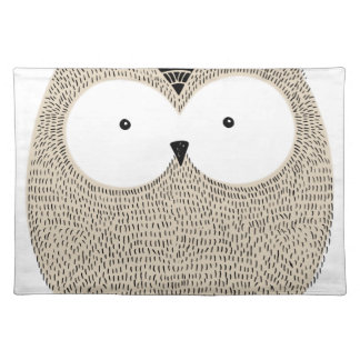 Cute funny owl sketchy illustration placemat