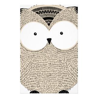 Cute funny owl sketchy illustration stationery