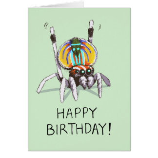 Cute Funny Peacock Spider Happy Birthday Card