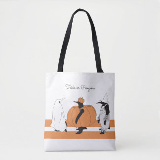 Cute Funny Penguin Halloween Personalised Tote Bag