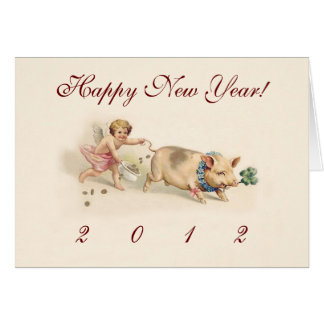 Cute Funny Pig and Angel New Year's Holiday Card
