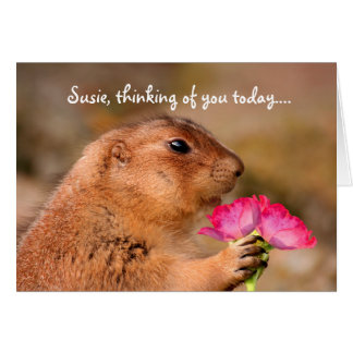 Cute Funny Prairie Dog Holding Flowers Card