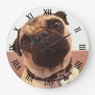 Cute Funny Pug Close-Up Large Clock