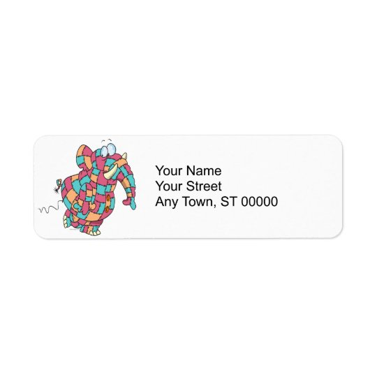 cute funny quilted patchwork elephant return address label