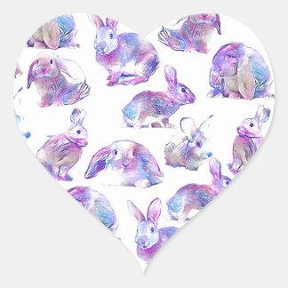Cute funny rabbits heart sticker