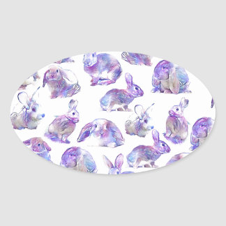 Cute funny rabbits oval sticker