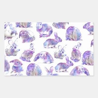 Cute funny rabbits rectangular sticker