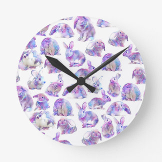 Cute funny rabbits round clock