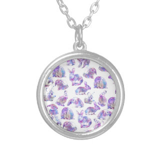 Cute funny rabbits silver plated necklace