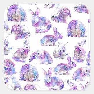 Cute funny rabbits square sticker