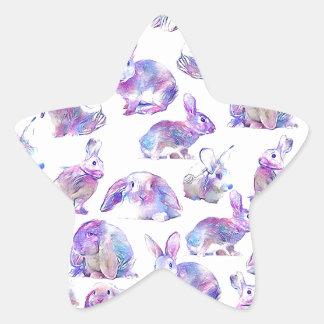Cute funny rabbits star sticker