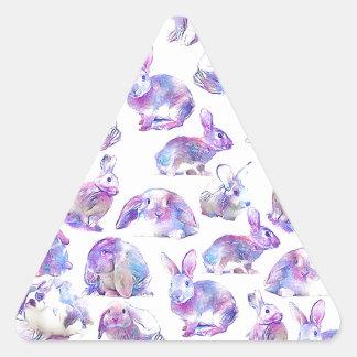 Cute funny rabbits triangle sticker