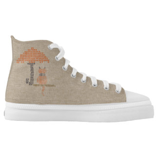 Cute Funny Rainy Day Stitched Cat Shoes Printed Shoes