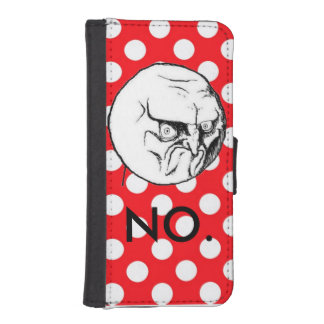 Cute Funny Red white polka-dot NO!-meme iPhone SE/5/5s Wallet Case