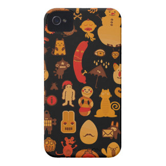 Cute Funny Retro Style Unusual Monters Blackberry iPhone 4 Case-Mate Cases