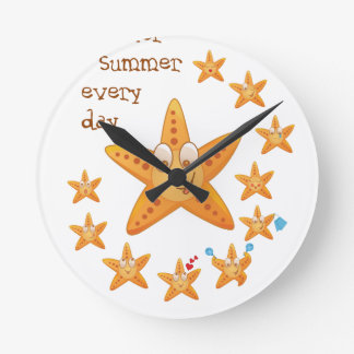 Cute funny sea star among little ones wall clocks