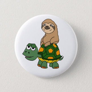 Cute Funny Sloth on Turtle Cartoon 6 Cm Round Badge