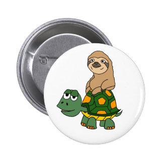 Cute Funny Sloth on Turtle Cartoon 6 Cm Round Badge