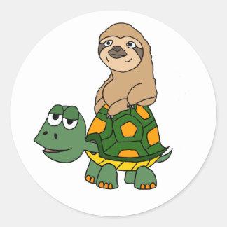Cute Funny Sloth on Turtle Cartoon Round Sticker