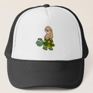 Cute Funny Sloth on Turtle Cartoon Trucker Hat