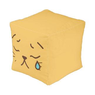 Cute Funny Smiley Cat Face. Emoji. Emoticon. Pouf