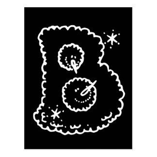 Cute Funny Snowball Faces Monogram Initial B Postcard