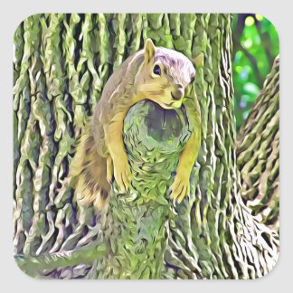 Cute Funny Squirrel being Lazy on a Branch Sticker