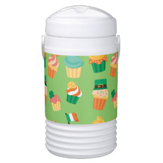Cute funny St patrick green orange cupcake pattern Cooler