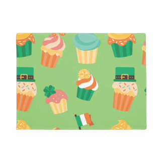 Cute funny St patrick green orange cupcake pattern Doormat