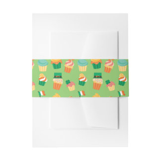 Cute funny St patrick green orange cupcake pattern Invitation Belly Band