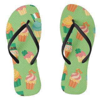 Cute funny St patrick green orange cupcake pattern Thongs