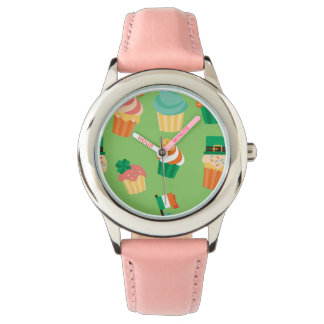 Cute funny St patrick green orange cupcake pattern Watch